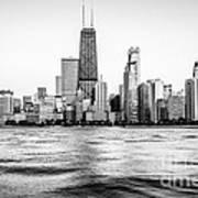 Chicago Skyline Hancock Building Black And White Photo Art Print