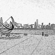 Chicago Skyline Hard Ink Art Print