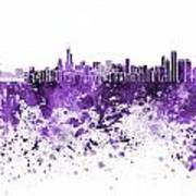 Chicago Skyline In Purple Watercolor On White Background Art Print