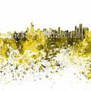 Chicago Skyline In Yellow Watercolor On White Background Art Print