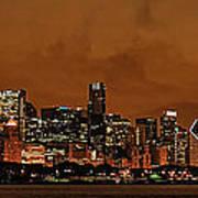 Chicago Skyline Panorama At Dusk Art Print