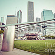 Chicago Skyline With Pritzker Pavilion Vintage Picture Art Print