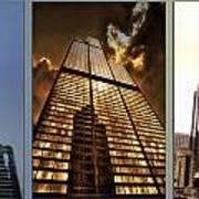 Chicago Tall Shoulders Trump Sears 333 W Wacker Triptych 3 Panel 01 Art Print