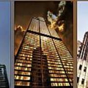 Chicago Tall Shoulders Trump Sears Tribune Triptych 3 Panel 01 Art Print