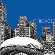 Chicago The Bean - Royal Blue Art Print