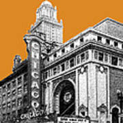Chicago Theater - Dark Orange Print by DB Artist