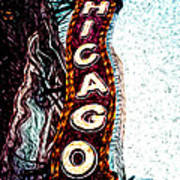 Chicago Theatre Sign Digital Art Art Print by Paul Velgos