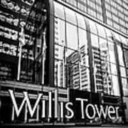 Chicago Willis Tower Sign In Black And White Art Print by Paul Velgos