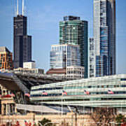 Chicago With Soldier Field And Sears Tower Art Print by Paul Velgos