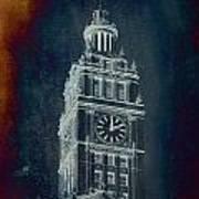 Chicago Wrigley Clock Tower Textured Art Print