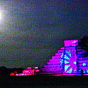 Chichen Itza Full Moon Art Print