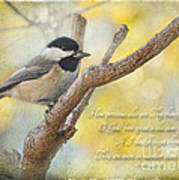 Chickadee With His Prize And Verse Art Print
