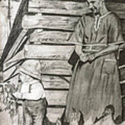 Chicken Coop - Woman And Son - Feeding Chickens Art Print