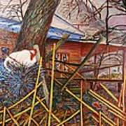 Chicken On Fence  Zinc Arkansas Art Print