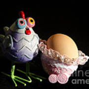 Chicken With Her Baby Egg Art Print by Victoria Herrera