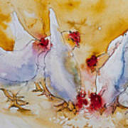 Chickens Feed Art Print