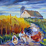 Chickens In The Cornfield Art Print