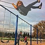 Child On Swing Art Print