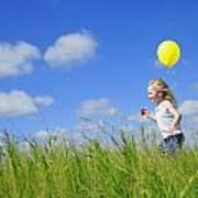 Child Running With A Balloon Art Print