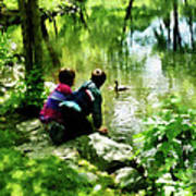 Children And Ducks In Park Art Print