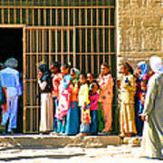 Children And Tourists At Entry To Temple Of Hathor In Dendera-egypt Copy Art Print by Ruth Hager