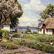 Children In A Farmyard Art Print by Peder Monsted