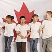 Children In Front Of Canadian Flag Art Print by Don Hammond