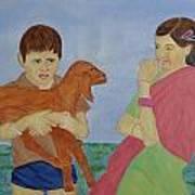 Children In Indian Village Art Print