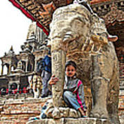 Children Love The Elephants In Patan Durbar Square In Lalitpur-nepal Art Print