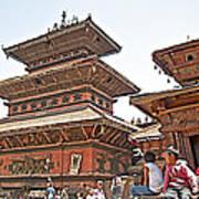 Children On Pagodas In Bhaktapur Durbar Square In Bhaktapur-nepal Art Print
