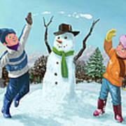 Children Playing In Snow Art Print by Martin Davey
