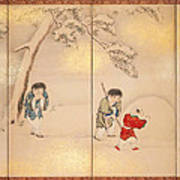 Children Playing In Summer And Winter Art Print