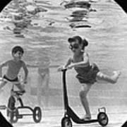Children Playing Under Water Art Print