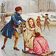 Children Skating Art Print by Maurice Leloir