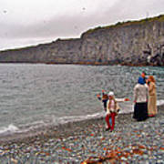 Children Throwing Capelin Back Into The Ocean At Middle Cove-nl Art Print