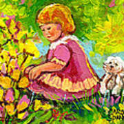 Children's Art - Little Girl With Puppy - Paintings For Children Art Print