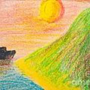 Child's Hand Drawing Of Sea And Mountain Landscape With Crayons Art Print