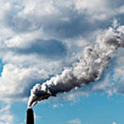 Chimney Exhaust Waste Amount Of Co2 Into The Atmosphere Art Print by Ulrich Schade