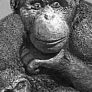 Chimpanzee Carving Art Print