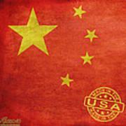 China Flag Made In The Usa Print by Tony Rubino