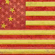 Chinese American Flag Blend Art Print