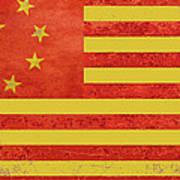 Chinese American Flag Art Print