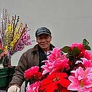 Chinese Bicycle Flower Vendor On Street Shanghai China Art Print