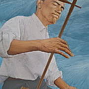 Chinese Citicen Barack Obama Is Playing Erhu A Chinese Two Stringed Musical Instrument Art Print by Tu Guohong