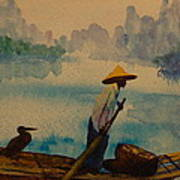 Chinese Fisherman With Commarant Art Print