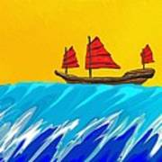 Chinese Junk And Wave Art Print