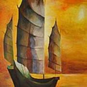 Chinese Junk In Ochre Art Print by Tracey Harrington-Simpson