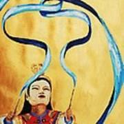 Chinese Ribbon Dancer  Blue Ribbon Art Print