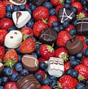Chocolates And Strawberries Art Print by Tim Gainey
