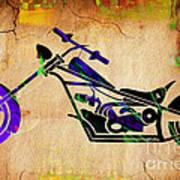 Chopper Motorcycle Painting Art Print
